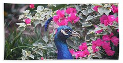 Beach Towel featuring the photograph Peacock And Bouganvillas by Donna Smith