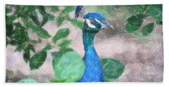 Beach Towel featuring the photograph Peacock by Donna  Smith