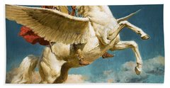 Pegasus The Winged Horse Beach Towel by Fortunino Matania