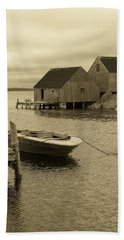 Peggys Cove In Sepia Beach Towel by Richard Bryce and Family