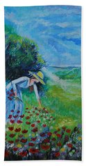 Beach Sheet featuring the painting Picking Flowers by Leslie Allen