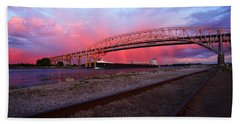 Beach Towel featuring the photograph Pink And Blue by Gordon Dean II