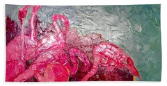 Pink Flamingoes Beach Towel by Ana Maria Edulescu