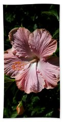 Pink Hibiscus Beach Sheet by Karen Harrison
