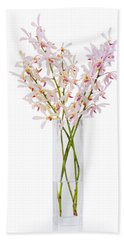 Pink Orchid In Vase Beach Towel