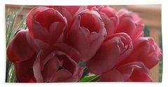 Pink Tulips In Vase Beach Sheet
