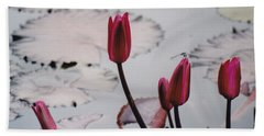 Pink Water Lily Buds Beach Towel