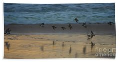 Plovers At Play On A Stormy Morning Beach Towel