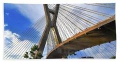 Ponte Estaiada Octavio Frias De Oliveira Ao Cair Da Tarde Beach Sheet