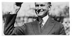 President Calvin Coolidge Tips Is Hat Beach Towel