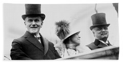 President Calvin Coolidge With His Wife And Senator Curtis On The Way To Capitol - C 1925 Beach Towel
