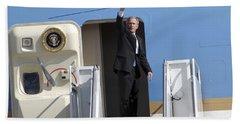 President George Bush Waves Good-bye Beach Towel by Stocktrek Images