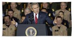 President George W. Bush Speaks Beach Sheet by Stocktrek Images