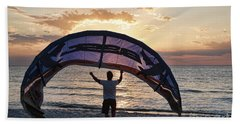 Putting Away The Kite At Clam Pass At Naples Florida Beach Towel