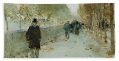 Quai Du Louvre Beach Towel by Childe Hassam