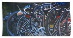 Racing Bikes Beach Towel by Sarah McKoy