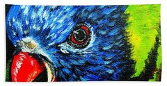 Beach Towel featuring the painting Rainbow Lorikeet Look by Julie Brugh Riffey