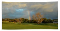 Beach Sheet featuring the photograph Rainbow Over Princeville by Lynn Bauer