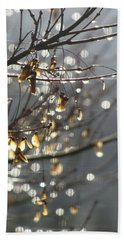 Raindrops And Leaves Beach Towel