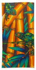 Chameleon In Bamboo Forest Beach Towel