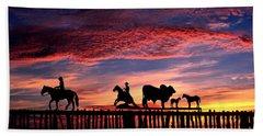 Texas Ranch Gate At Sunrise Beach Towel
