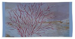 Beach Towel featuring the painting Red Branches by Judith Rhue