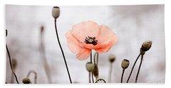 Red Corn Poppy Flowers 01 Beach Towel