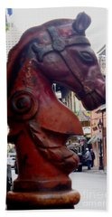 Beach Towel featuring the photograph Red Horse Head Post by Alys Caviness-Gober