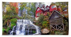 Red House By The Waterfall 2 Beach Towel