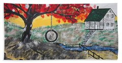 Beach Towel featuring the painting Red Maple  Swing by Jeffrey Koss