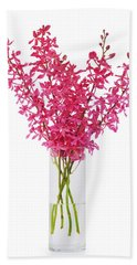 Red Orchid In Vase Beach Towel