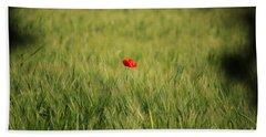 Red Poppy In A Field Beach Towel