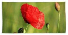 Red Poppy In Field Beach Towel