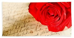 Red Rose Over A Hand Written Letter Beach Sheet