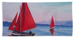 Beach Towel featuring the painting Red Sails On Irish Coast by Julie Brugh Riffey