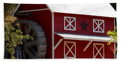 Red Star Barn Beach Sheet by Holly Blunkall
