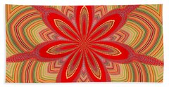 Red Star Brocade Beach Towel by Alec Drake