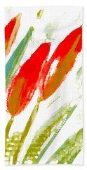 Red Tulips Beach Sheet by Barbara Moignard