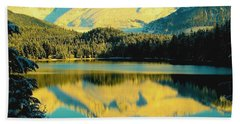 Reflecting On Auke Lake Beach Towel by Myrna Bradshaw