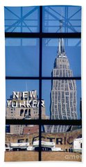 Reflection Empire State Building Beach Sheet by Mark Gilman