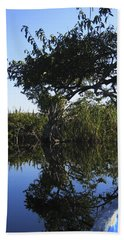 Reflection Of Arched Branches Beach Sheet by Anne Mott