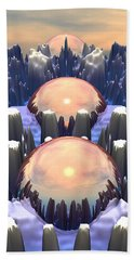Beach Towel featuring the digital art Reflection Of Three Spheres by Phil Perkins