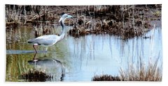 Reflections Of A Blue Heron Beach Sheet