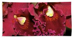 Rich Burgundy Orchids Beach Towel