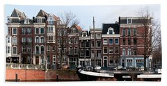 River Scenes From Amsterdam Beach Towel by Carol Ailles