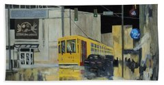Rivermarket Streetcar 411 Beach Sheet by Angelo Thomas