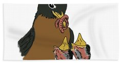 Beach Towel featuring the drawing Robin Feeding Chicks by Daniel Reed
