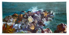 Rocks Against The Ocean  Beach Towel