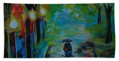 Beach Towel featuring the painting Romantic Stroll Series 1 by Leslie Allen