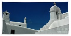 Rooftops Of Mykonos Beach Towel by Vivian Christopher